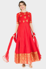 Red embroidered Banaras Dress