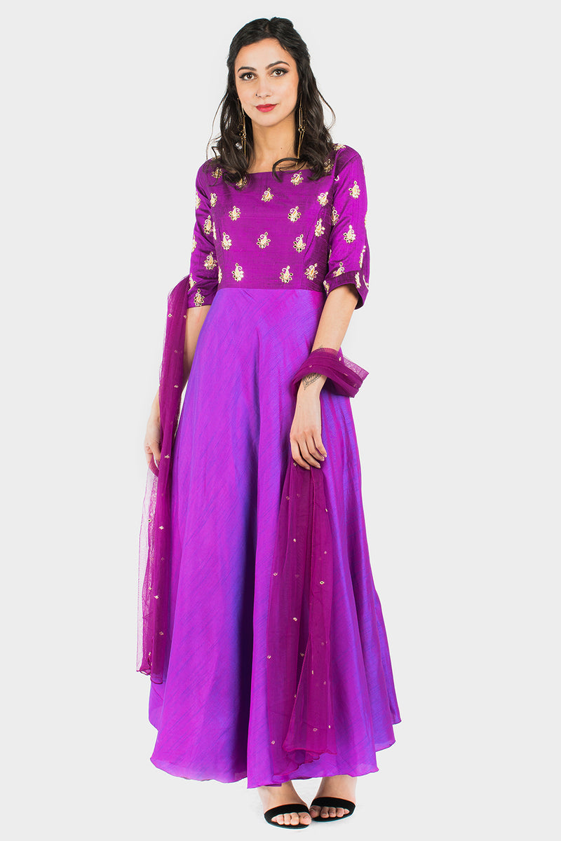 Purple silk embroidered dress