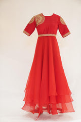 Red layered embroidred long organza dress with belt