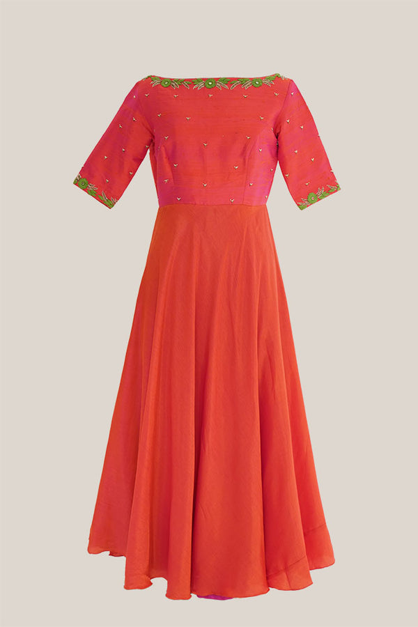 Orange silk embroidered dress