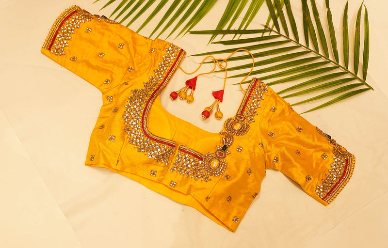Green kundan Embroidered Blouse