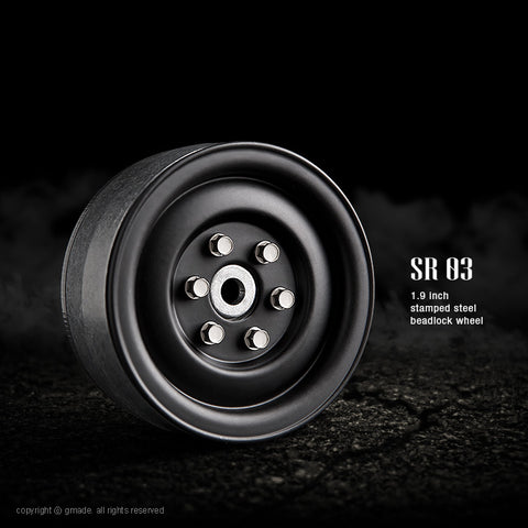 SR03 1.9″ Steel beadlock wheels (Matt black) (70184)