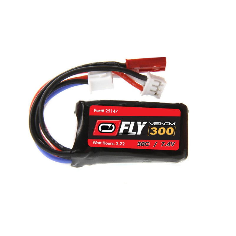 Venom Fly 30C 2S 300mAh 7.4V LiPo Battery with JST and E-flite