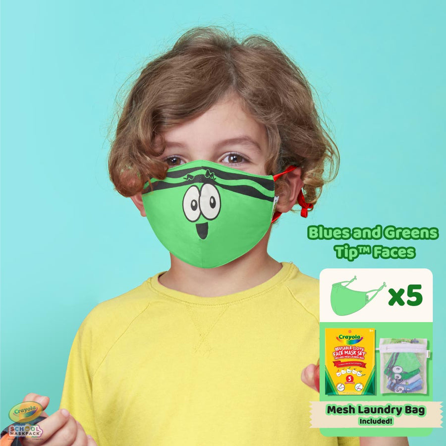 Crayola™ Kids Mask Set, Blues and Greens Tip™ Faces, 5 Masks for Kids