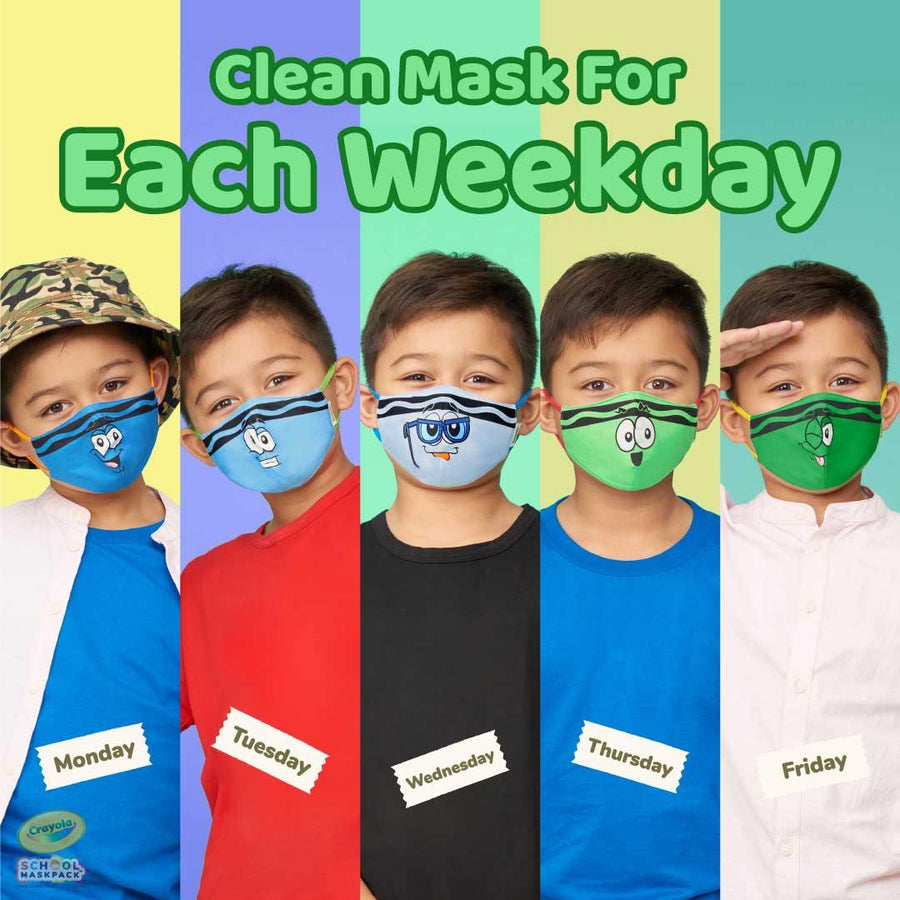 Crayola™ Kids Reusable Cloth Face Mask Set, Blues and Greens Tip™ Faces
