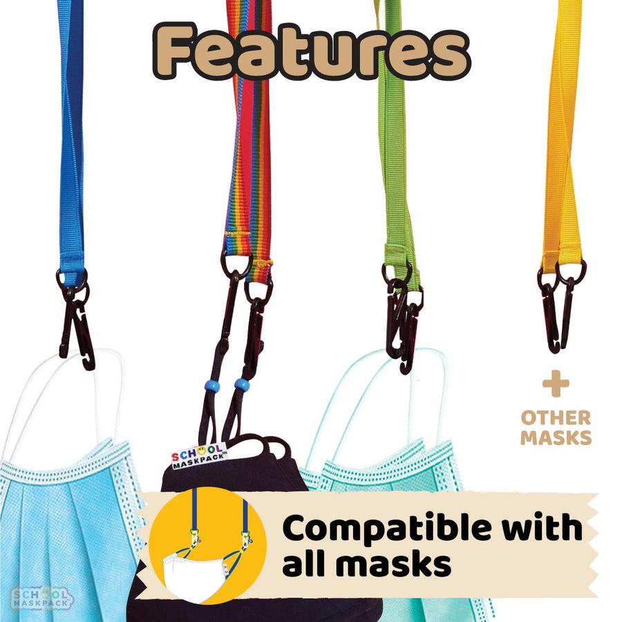 SchoolMaskPack™ Mask Straps - Kids Set, Brights