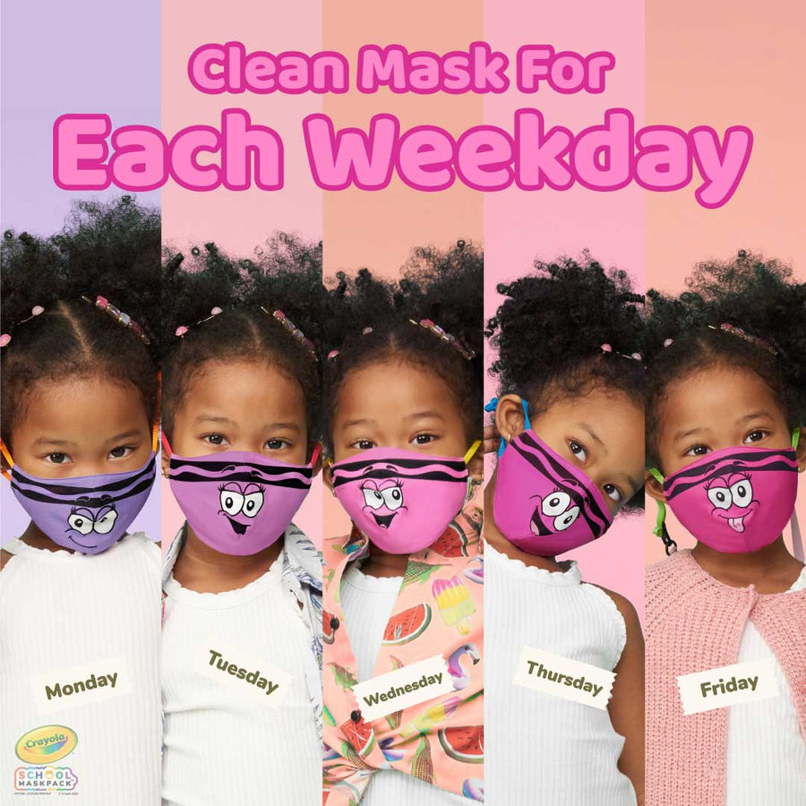 Crayola™ Kids Reusable Cloth Face Mask Set, Pinks and Purples Tip™ Faces
