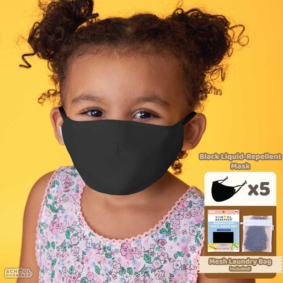 SchoolMaskPack™ Liquid-Repellent Kids Mask Set, Black, 5 Masks for Kids