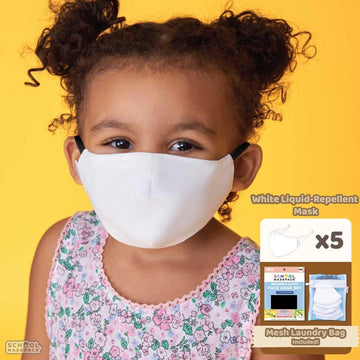 SchoolMaskPack™ White Liquid-Repellent Kids Reusable Cloth Face Mask Set