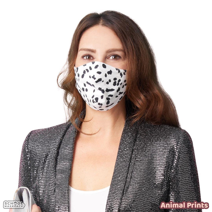 SchoolMaskPack™ Adult Mask Set, Animal Prints, 5 Masks for Adults or Teens