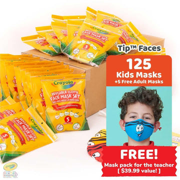 Classpack: 125 Crayola™ Kids Masks, Tip™ Faces, Bulk School Supplies