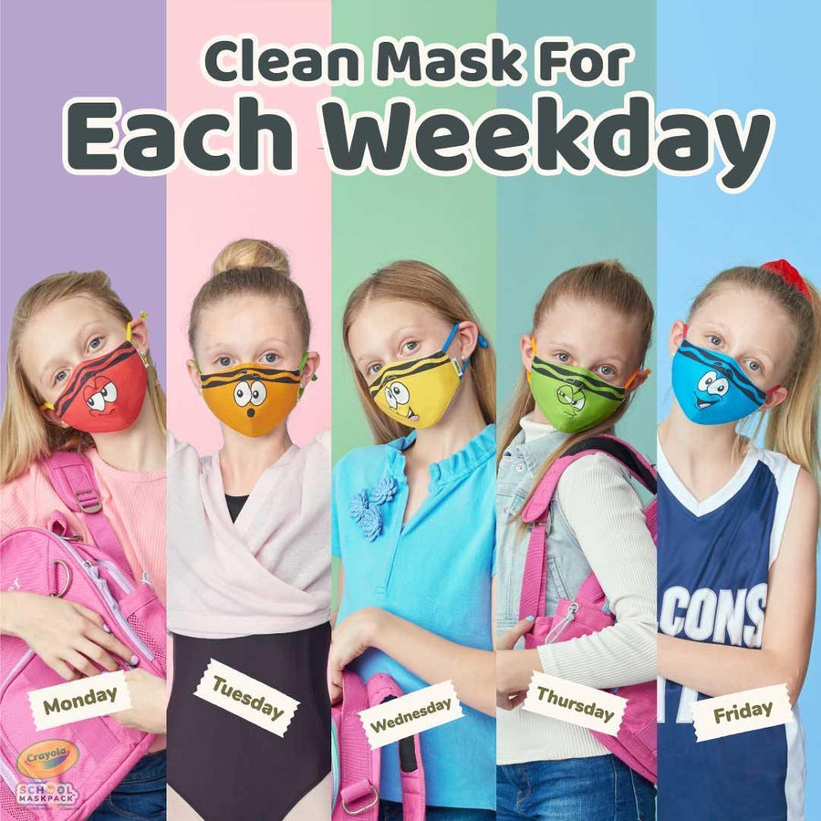 Classpack: 125 Crayola™ Kids Reusable Cloth Face Masks, Tip™ Faces, Bulk School Supplies