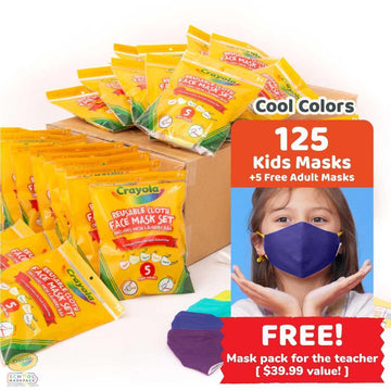 Classpack: 125 Crayola™ Kids Masks, Cool Colors, Bulk School Supplies