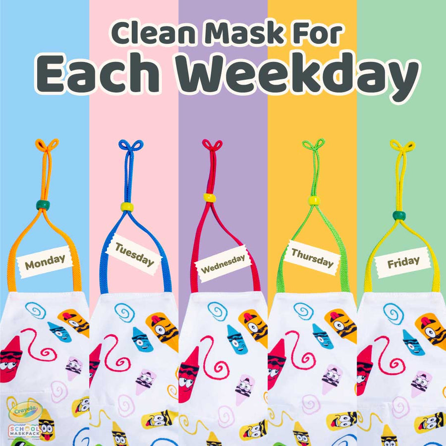 Classpack: 125 Crayola™ Kids Reusable Cloth Face Masks, Craymoji, Bulk School Supplies