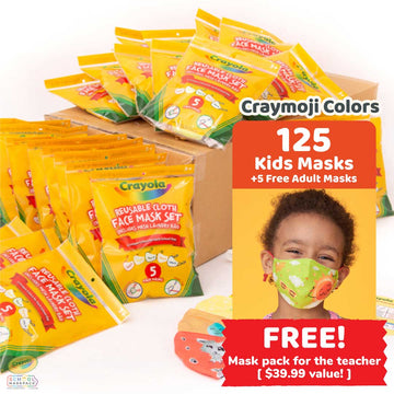 Classpack: 125 Crayola™ Kids Masks, Craymoji Colors, Bulk School Supplies