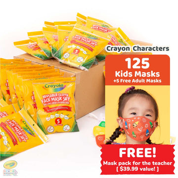 Classpack: 125 Crayola™ Kids Masks, Crayon Characters, Bulk School Supplies