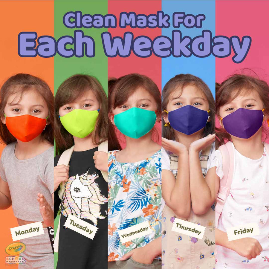 Crayola™ Kids Mask Set, Cool Colors, 5 Masks for Kids