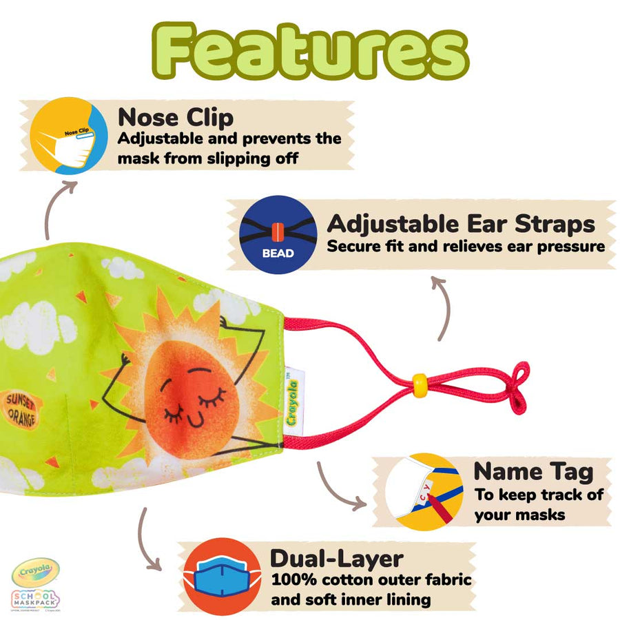 Crayola™ Kids Reusable Cloth Face Mask Set, Craymoji Colors