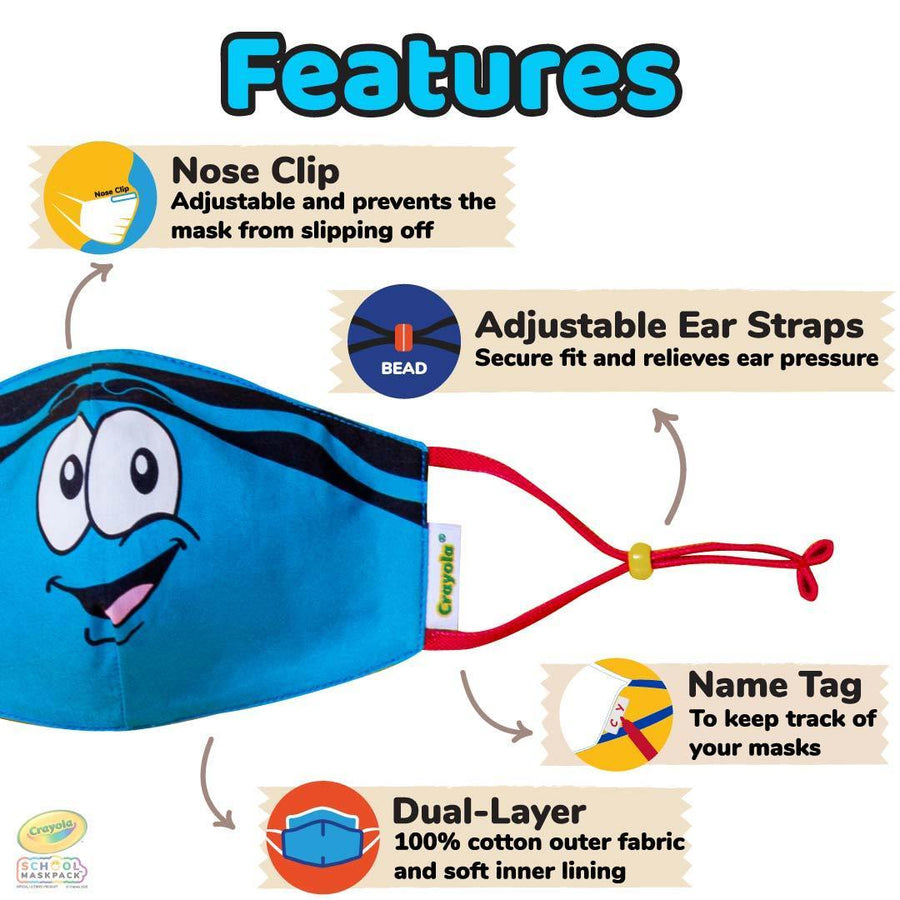 Crayola™ Kids Reusable Cloth Face Mask Set, Tip™ Faces