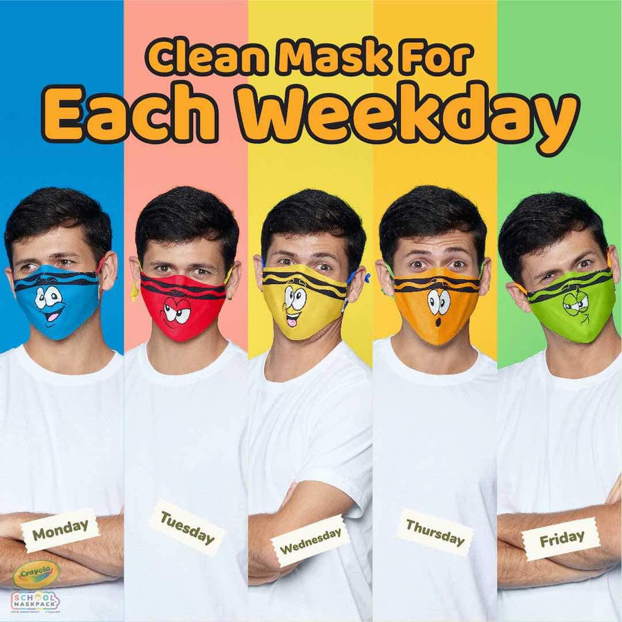 Crayola™ Adult Mask Set, Tip™ Faces, 5 Masks for Adults or Teens