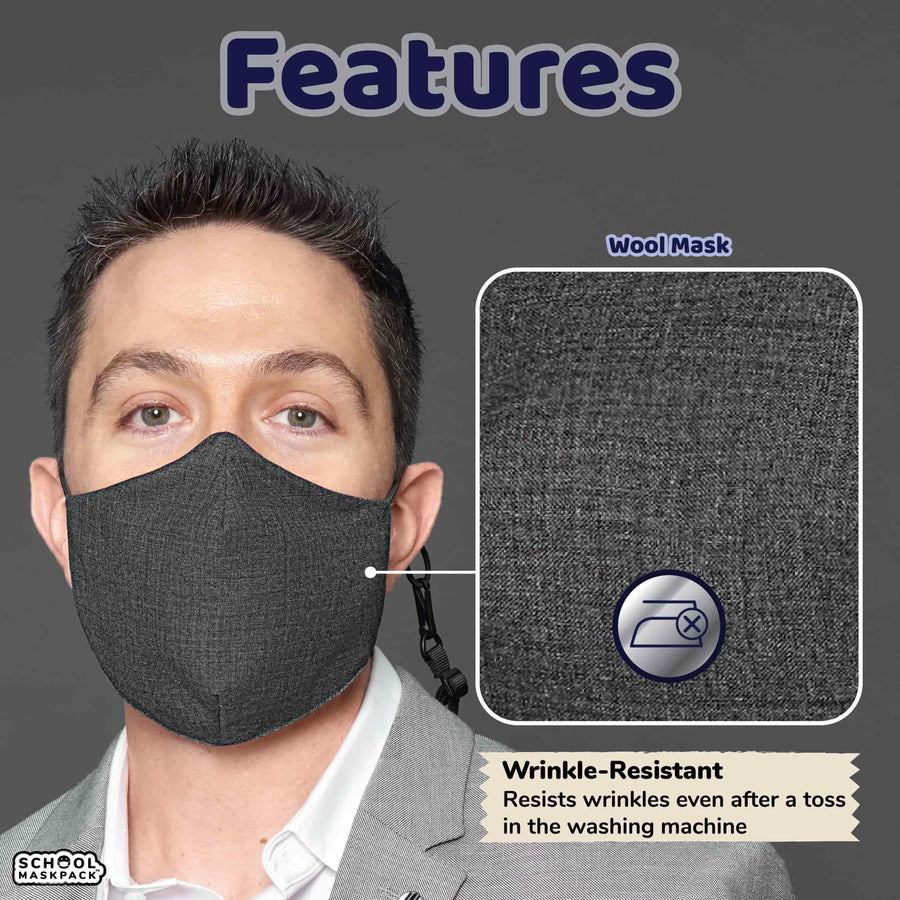 SchoolMaskPack™ Winter Wool Liquid-Repellent Adult XXL Reusable Face Mask Set