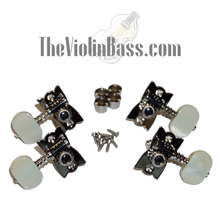 Load image into Gallery viewer, Genuine Hofner H61/73B Machine Heads Nickel w/Pearloid Buttons Set of 4