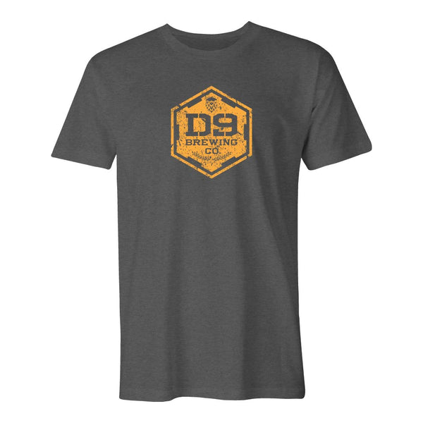 "D9 Brewing | ""Distressed Logo"" Unisex Charcoal Grey Tee"
