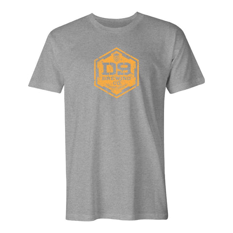 "D9 Brewing | ""Distressed Logo"" Unisex Heather Grey Tee"