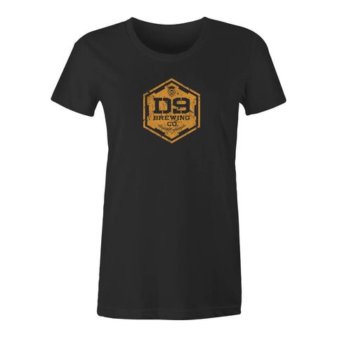 "D9 Brewing | ""Distressed Logo"" Women's Black Tee"