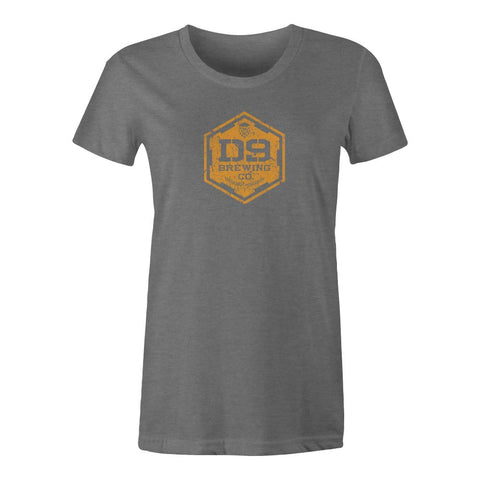 "D9 Brewing | ""Distressed Logo"" Women's Deep Heather Grey Tee"