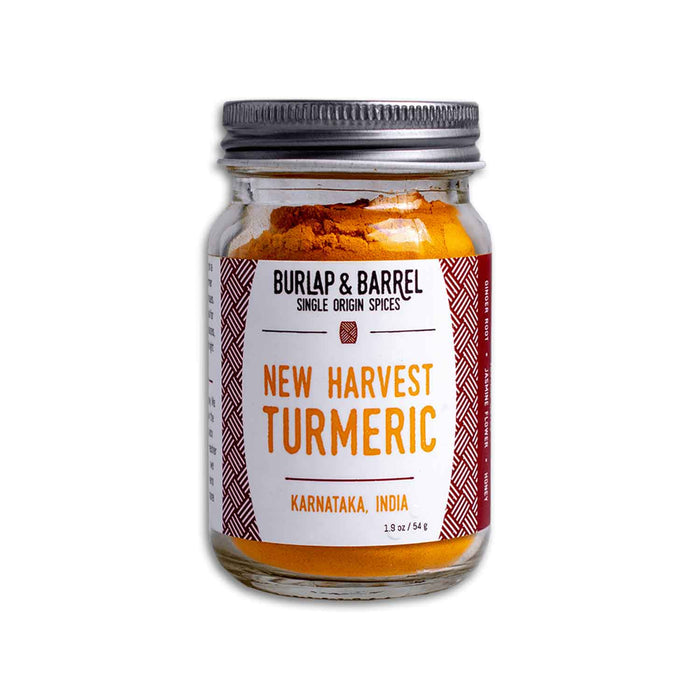 54 g of Burlap & Barrel Single Origin Spices Turmeric in a jar
