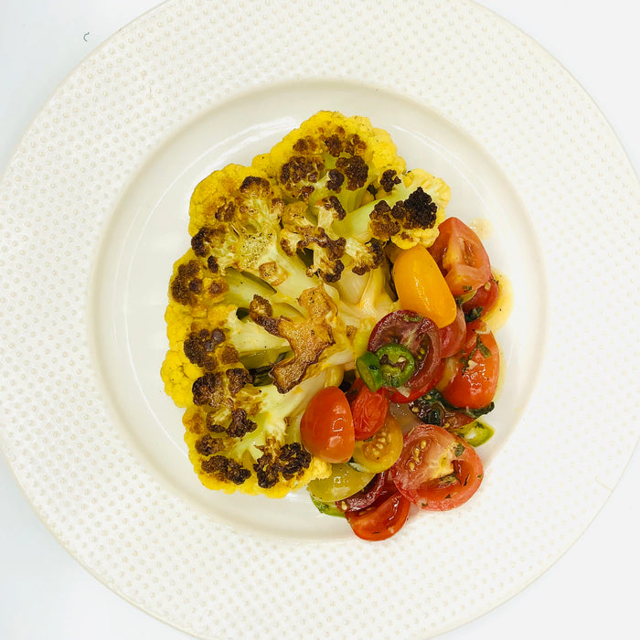 Cauliflower with Cherry Tomatoes, Jalapeno and Herbs