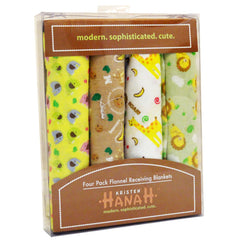 Kristen Hanah 4 Pack Assorted Flannel Receiving Blankets, Color # 1 - FS GIFTS