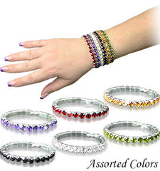 Fashion Bracelets with Rhinestones,Set of 6, - FS GIFTS