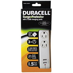 Duracell Surge Protector With 2 USB Charging Ports White - FS GIFTS