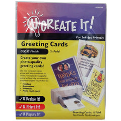 U CREATE IT! Greeting Cards Gloss Finish Half-Fold 10 Pack - FS GIFTS
