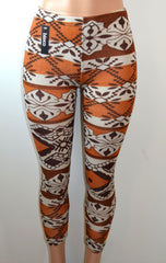 Baslco  Fair Isle Style Print High Waist Leggings,Brown  One Size - FS GIFTS