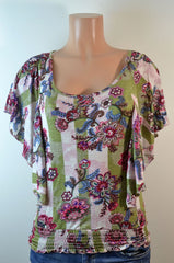 Timing Floral Top Olive/Beige, - FS GIFTS