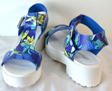 Breckelles Blue T Strap Floral Print Sandals Faux Leather
