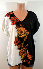 Wrapper Super Chic Floral Color Block  Top - FS GIFTS
