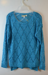 Moon River Sequins And Open Knit Sweater - FS GIFTS