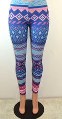 Soulmate Geo Print Leggings Blue - FS GIFTS