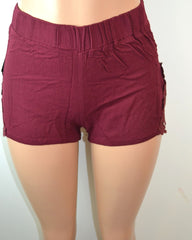 Shosho Womens Crinkle Shorts With Lace Applique Side Panels - FS GIFTS