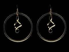 Extra Large Gold Plate Swirling Hoop Earrings - FS GIFTS