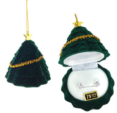 Cubic Zirconia Studs Earrings in Christmas Tree Gift Box - FS GIFTS