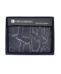 Umo Lorrenzo Men Genuine Leather Bi-Fold Wallet Snake Print - FS GIFTS