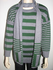 Elio Women Celine Striped Sweater With Matching Scarf -Green & Gray - FS GIFTS