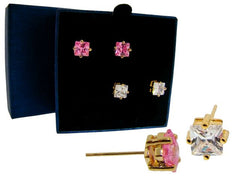 Solitaire Princess Cut Stud Earring Set - FS GIFTS