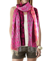 Ladies Fashion letter print crinkle scarves - FS GIFTS