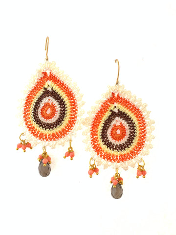 Crochet earrings Smokey quarts and coral  stones